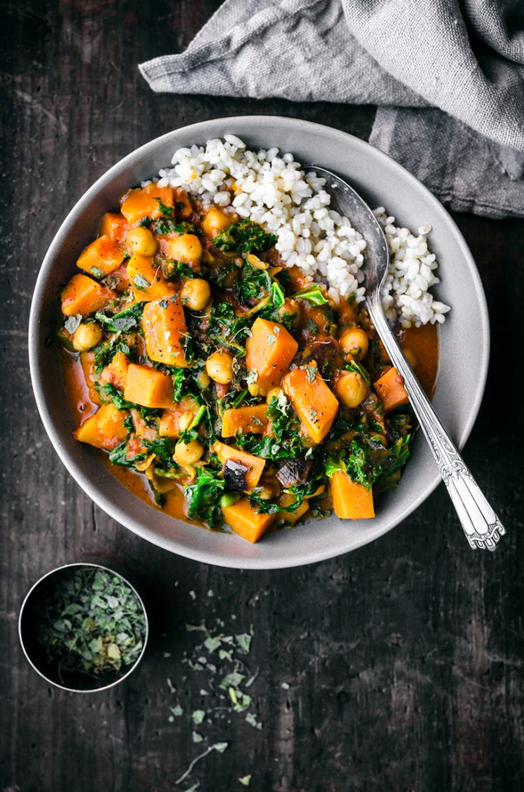 Vegan Chickpea, Sweet Potato, and Kale Curry