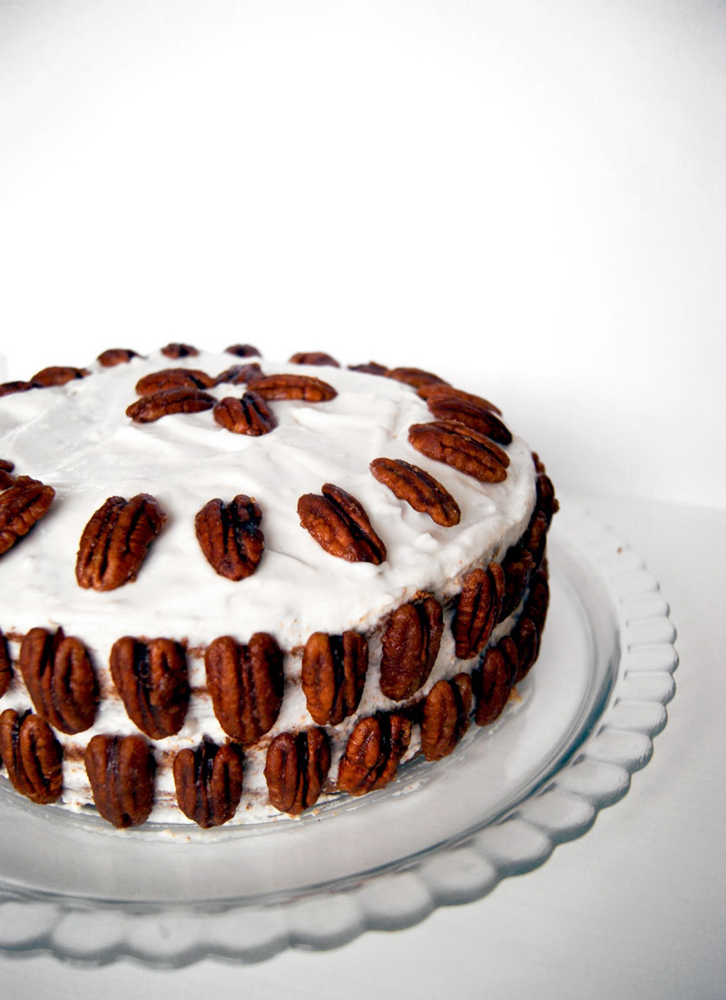 Carrot Birthday Cake with Coconut Cream and Maple Roasted Pecans | occasionallyeggs.com