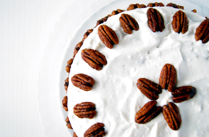 Carrot Birthday Cake with Coconut Cream and Maple Roasted Pecans (Vegan)
