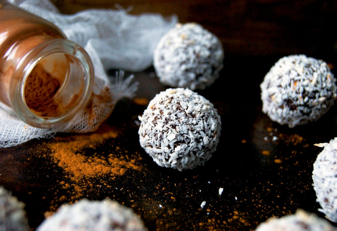Chocolate Snowball Cookies (Vegan, Grain-free)