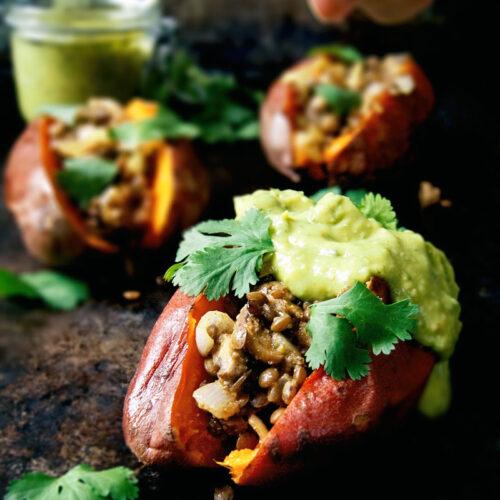 Lentil and Mushroom Stuffed Sweet Potatoes | occasionallyeggs.com