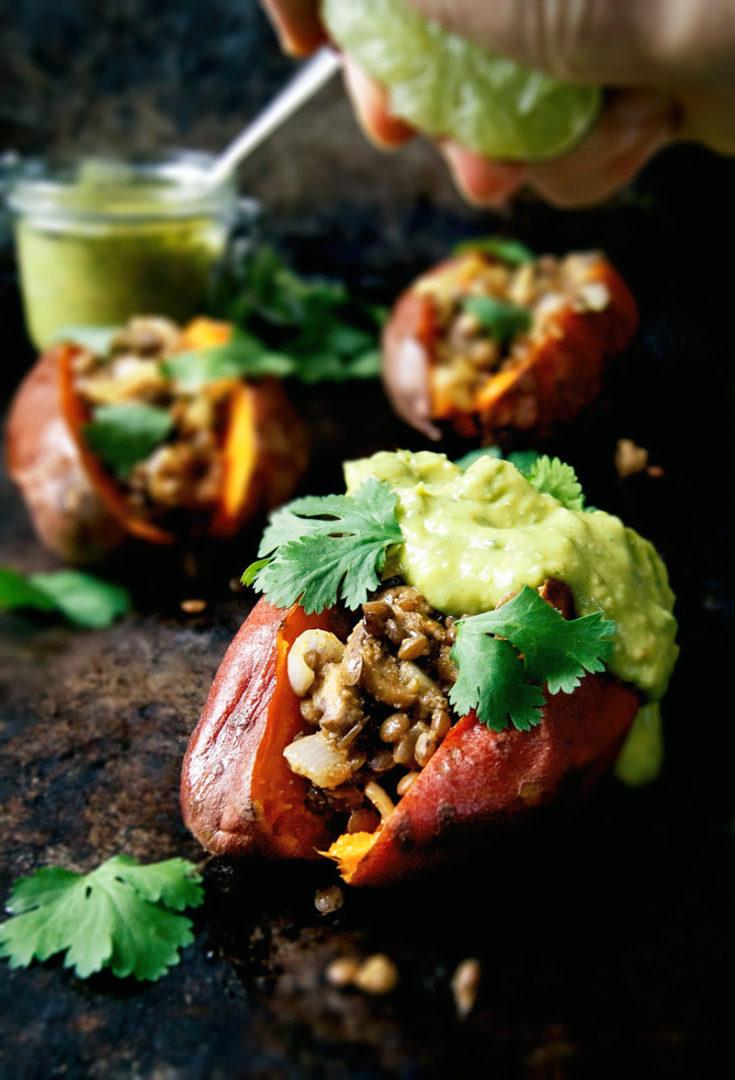 Lentil and Mushroom Stuffed Sweet Potatoes + Glowing Green Sauce