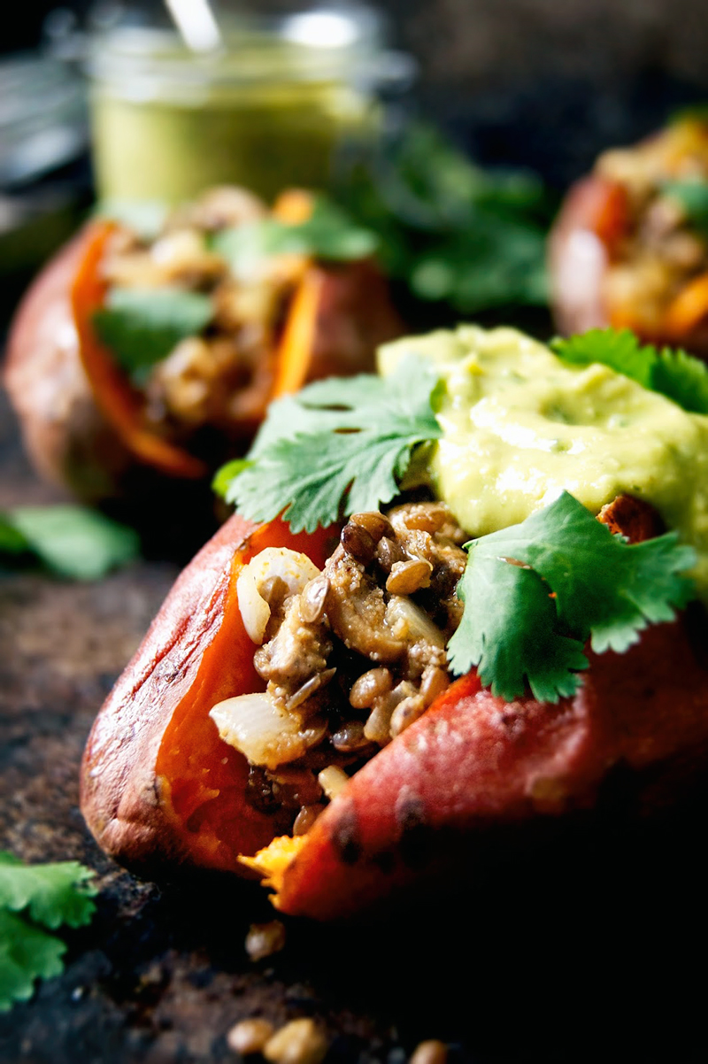 Lentil and Mushroom Stuffed Sweet Potatoes | occasionallyeggs.com