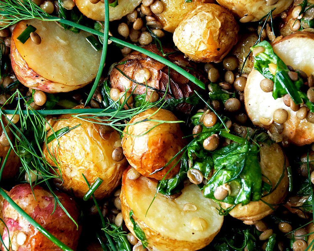 Roasted New Potato Salad with Lentils + Herb Dressing