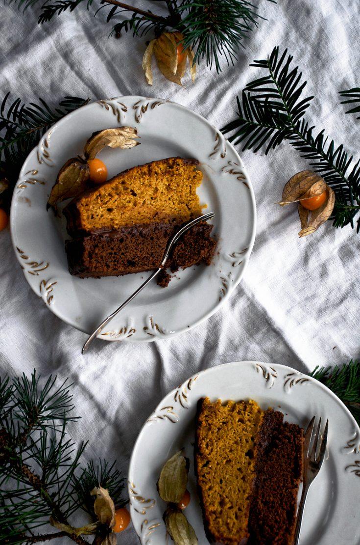Vegan Pumpkin and Chocolate Layer Birthday Cake | occasionallyeggs.com