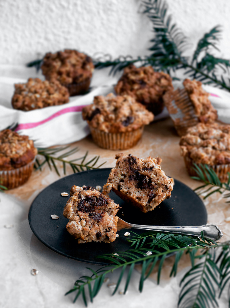 Vegan Banana Chocolate Muffins with Streusel Topping | occasionallyeggs.com