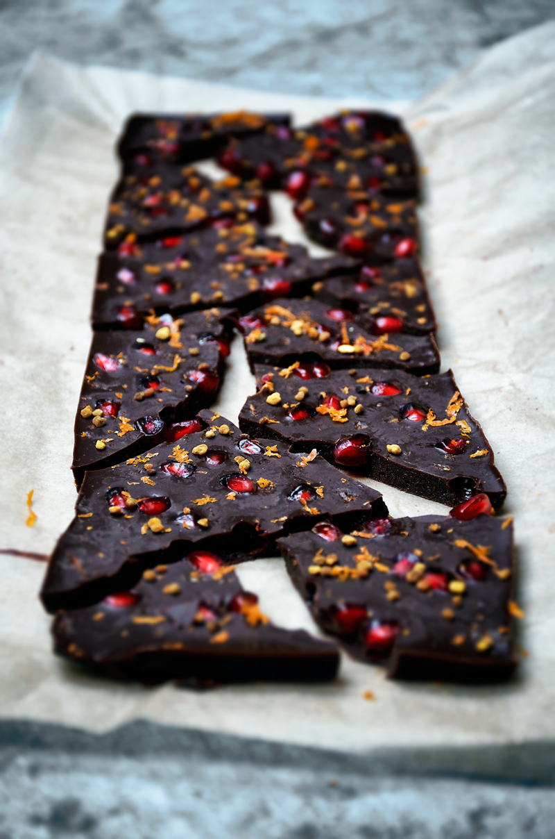 Winter Raw Chocolate Bar with Pomegranate and Orange | occasionallyeggs.com
