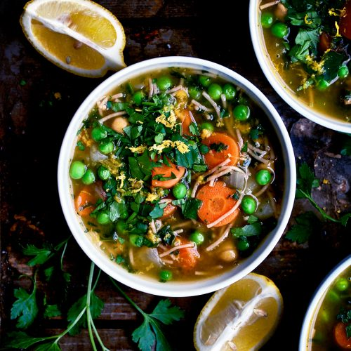 Chickpea Noodle Soup with Parsley and Lemon | occasionallyeggs.com