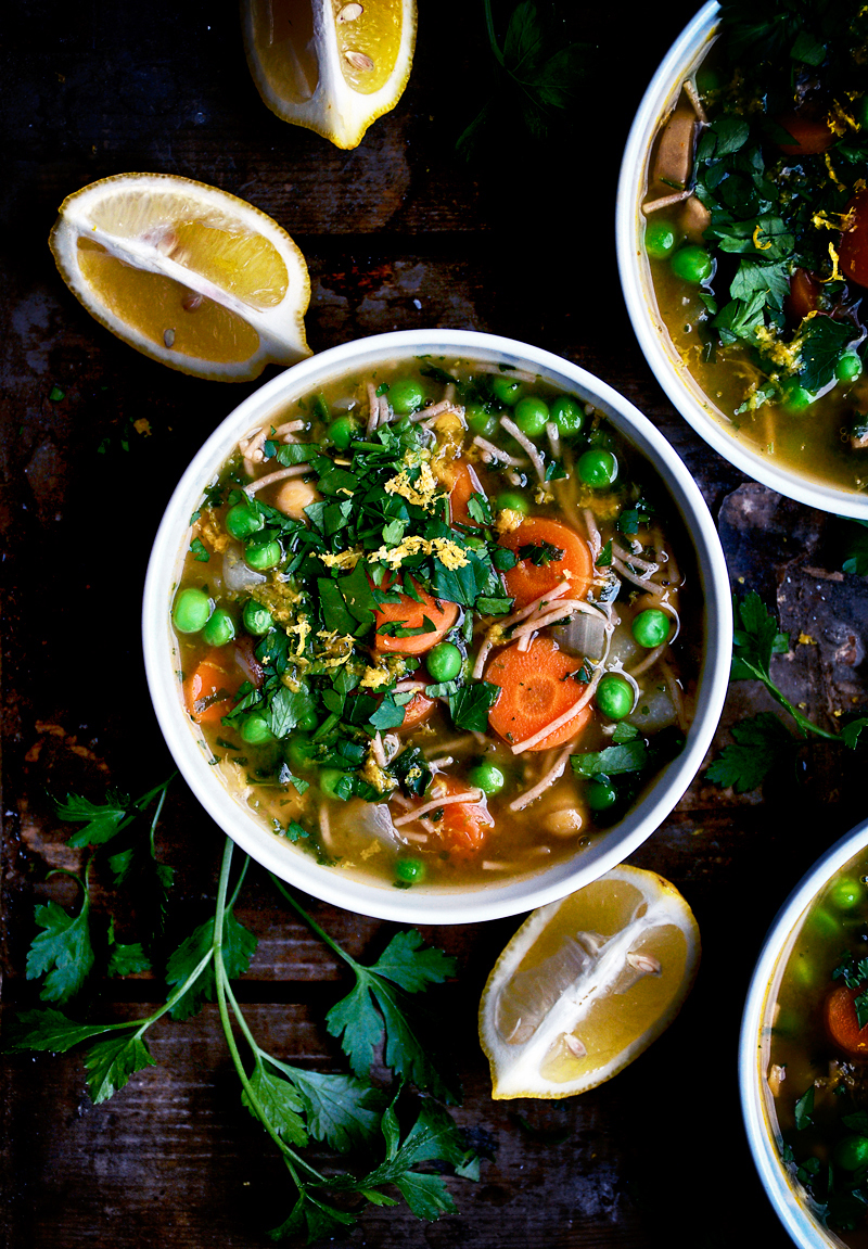 Chickpea Noodle Soup with Parsley and Lemon   occasionallyeggs.com