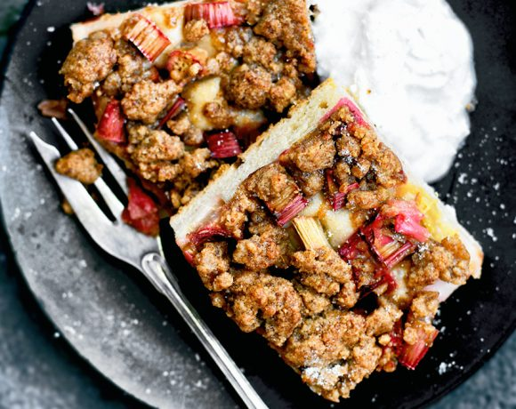 Vegan Rhubarb Streusel Cake | occasionallyeggs.com