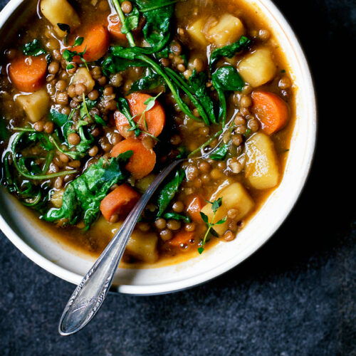 Vegan Lentil and Potato Stew | occasionallyeggs.com