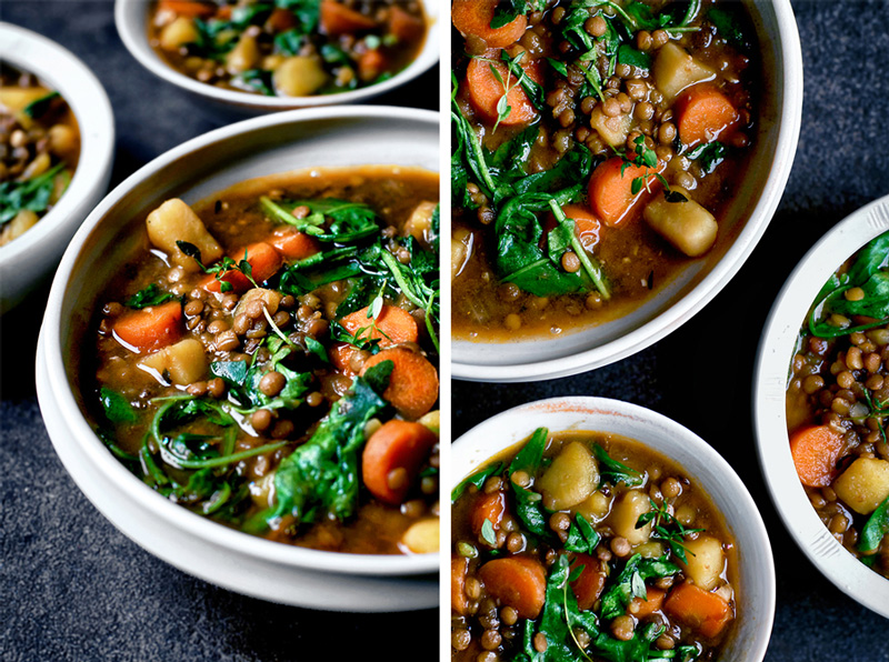 Two images: Three bowls of lentil potato stew with greens and carrots on a dark blue background in both.