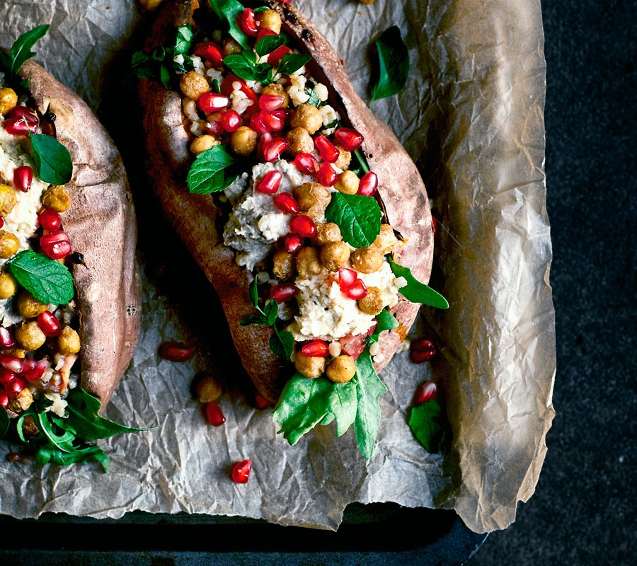 Cozy Moroccan Stuffed Sweet Potatoes