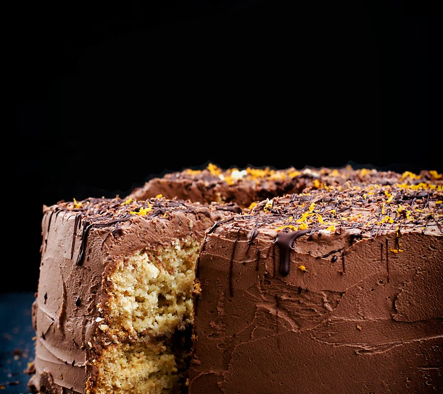 Vegan Coconut, Orange, and Chocolate Birthday Cake