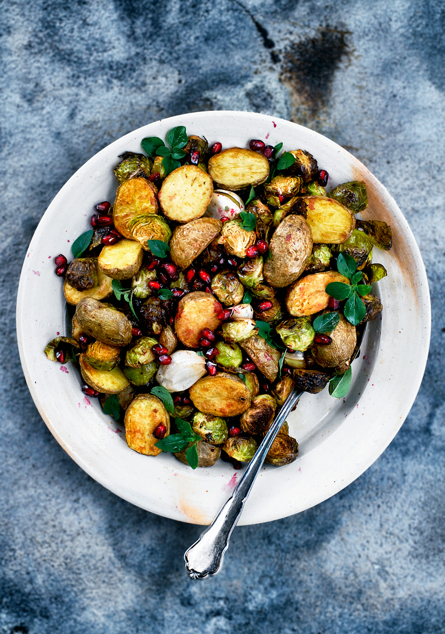 Spicy Roasted New Potatoes and Brussels Sprouts | occasionallyeggs.com