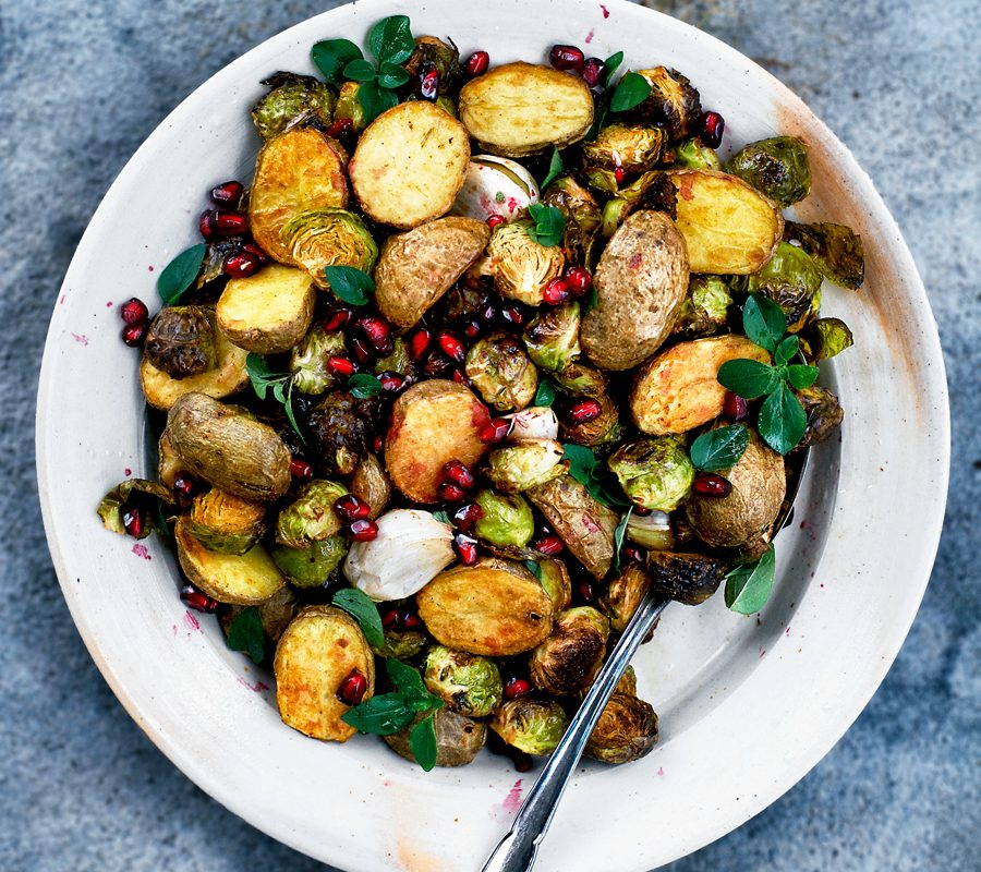 Spicy Roasted New Potatoes and Brussels Sprouts
