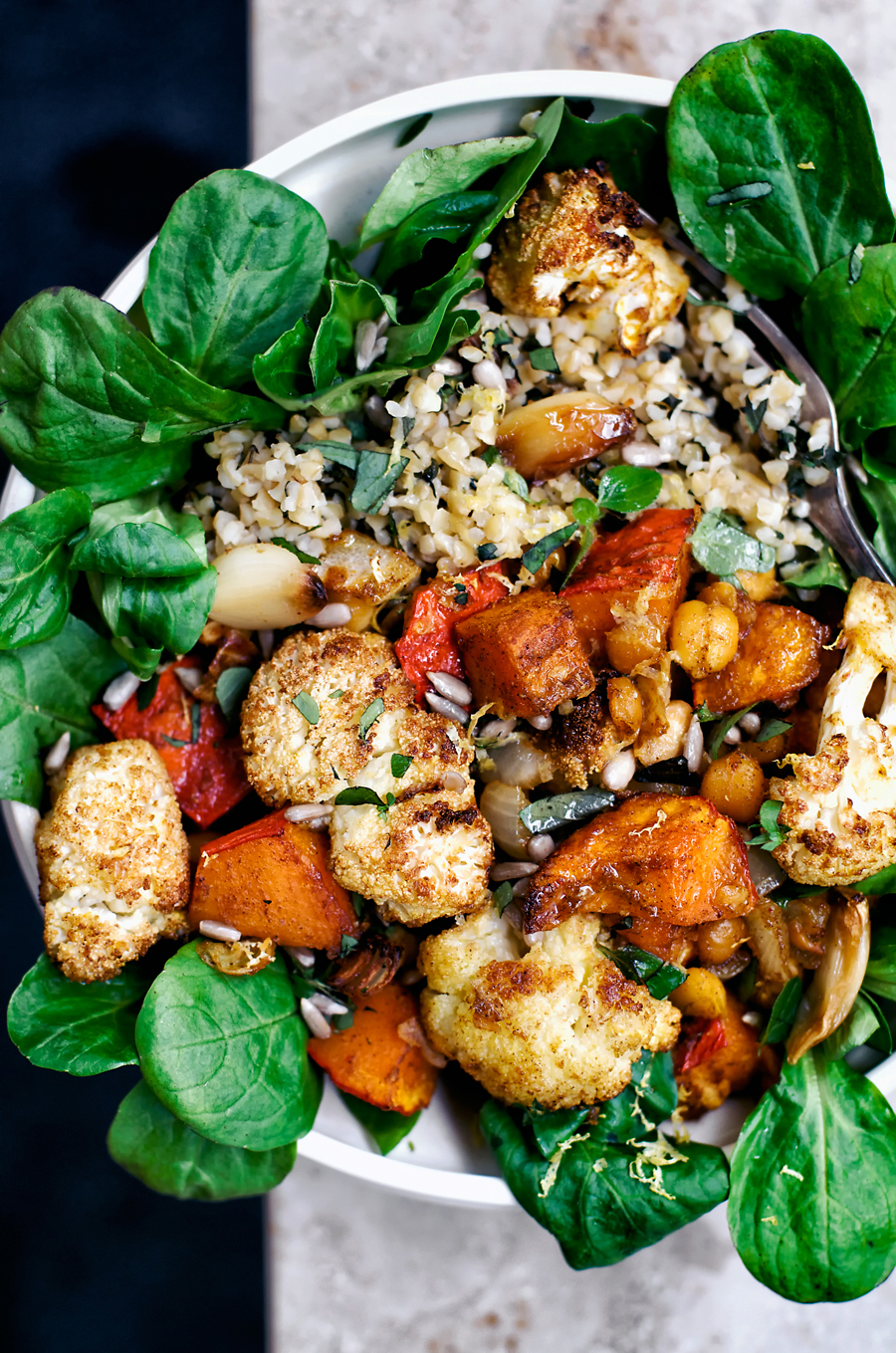 Vegan Roasted Cauliflower Grain Bowls | occasionallyeggs.com