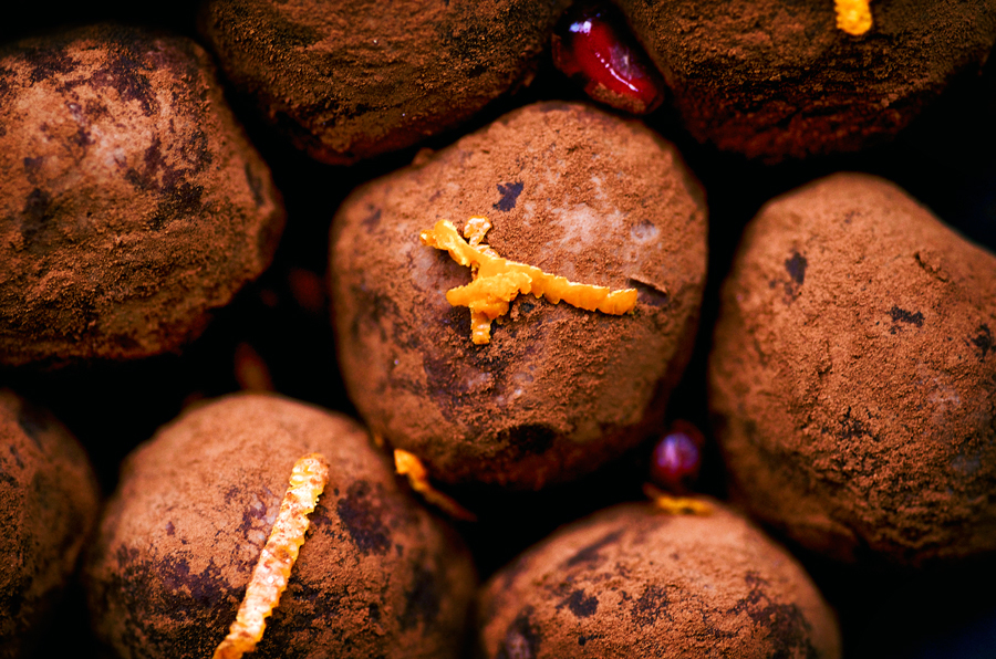 Chocolate Truffles with Ginger, Orange, and Pomegranate | occasionallyeggs.com