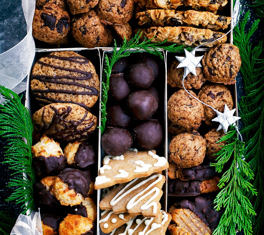 How to make a healthy holiday cookie box, perfect for Christmas gifts, filled with dairy free and egg free cookies. With an option for a gluten and grain free version at the end of the post.