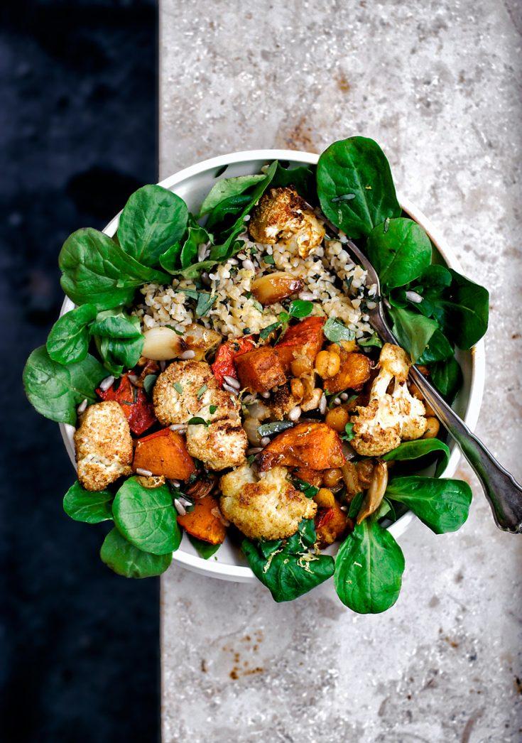 Vegan Roasted Cauliflower Grain Bowls | occasionallyeggs.com