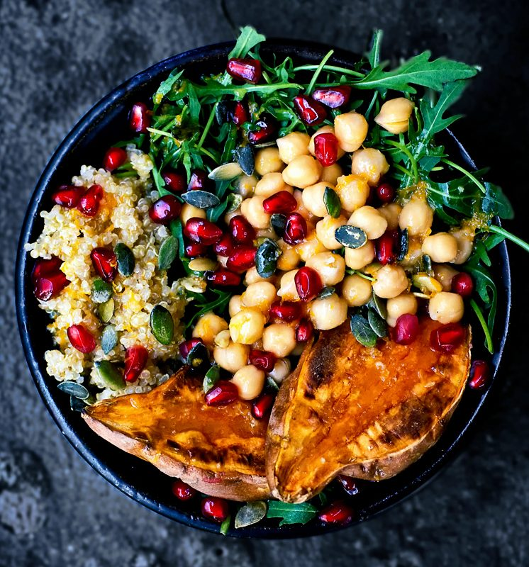 Moroccan Chickpea, Quinoa, and Sweet Potato Lunch Bowls
