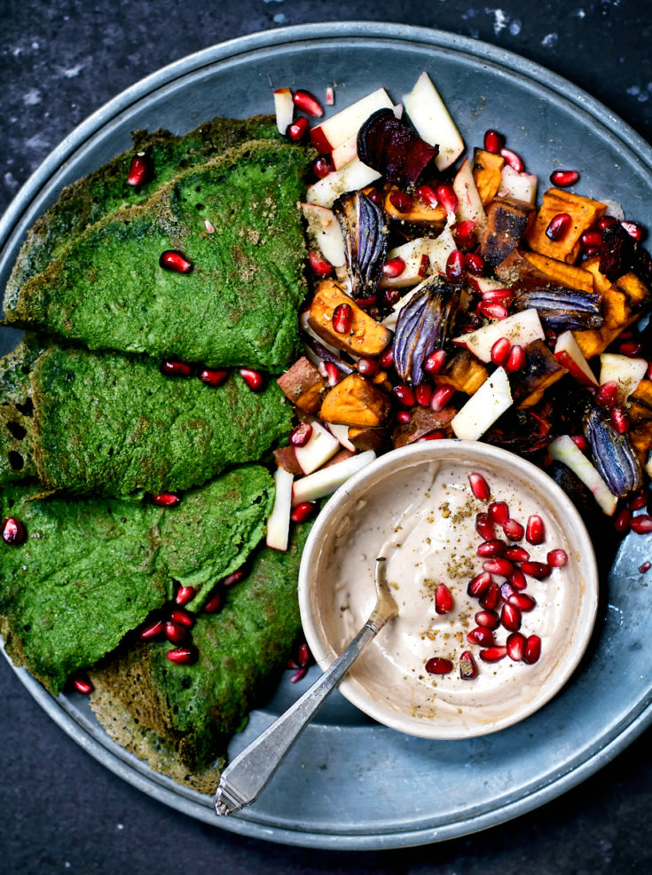 Spinach Crepes with Roasted Root Vegetables and Tahini Sauce | occasionallyeggs.com
