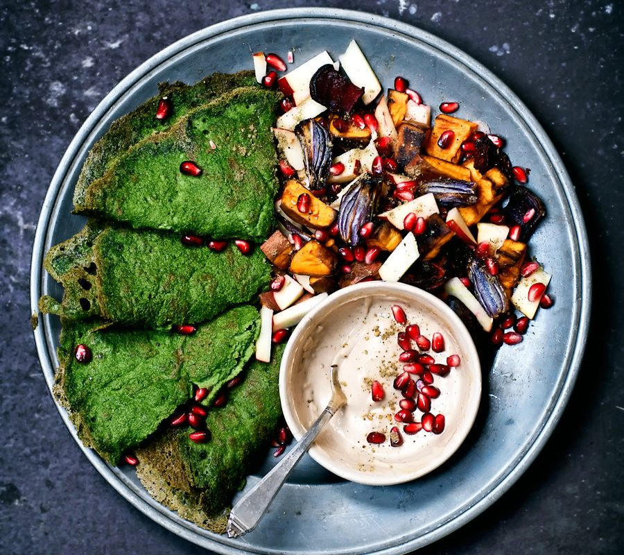 Spinach Crepes with Roasted Root Vegetables and Tahini Sauce