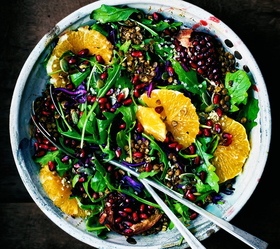Cold Weather Detox Salad with Crispy Lentils