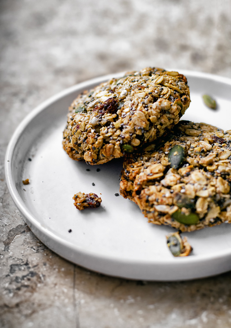 Two oatmeal breakfast cookies on a plate.