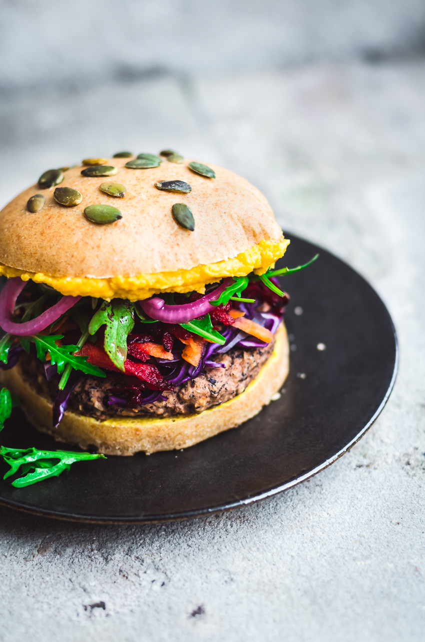 Black Bean Rice Burgers with Rainbow Toppings   occasionallyeggs.com