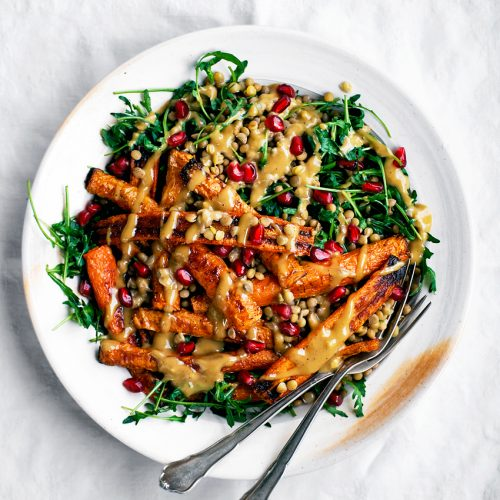 Spicy Roasted Carrots with Tahini Lentil Salad | occasionallyeggs.com