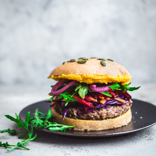 Black Bean Rice Burgers with Rainbow Toppings | occasionallyeggs.com
