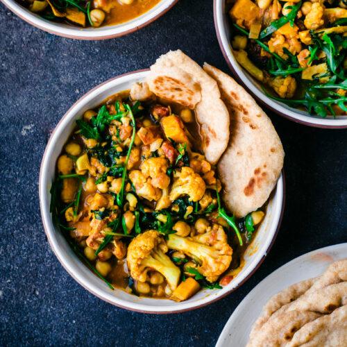 Cauliflower, Sweet Potato, and Chickpea Curry | occasionallyeggs.com