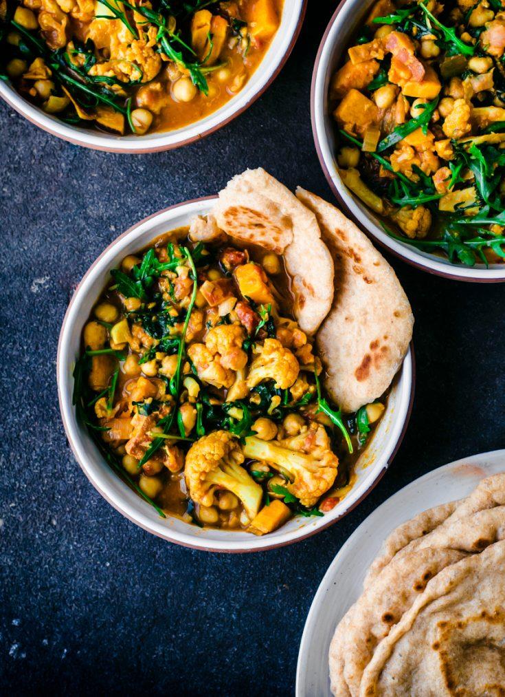 Cauliflower, Sweet Potato, and Chickpea Curry