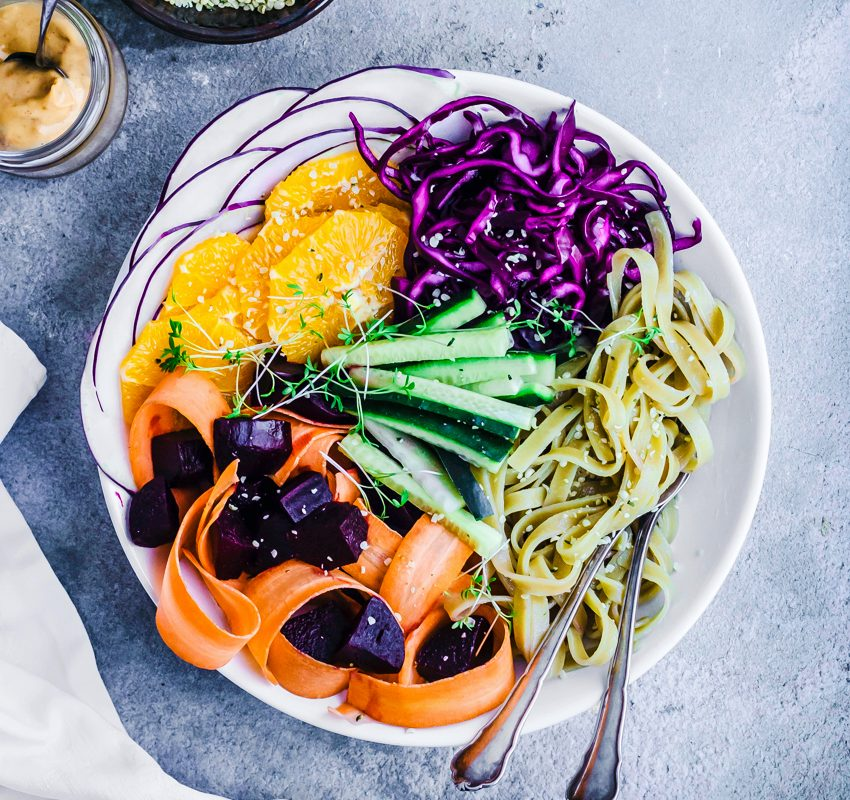 Winter Glow Noodle Bowls with Orange Peanut Sauce