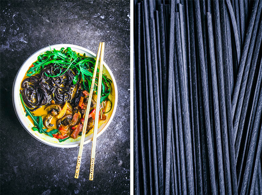 Left: yellow curry with rice noodles in a bowl. Right: Close up of black rice noodles.