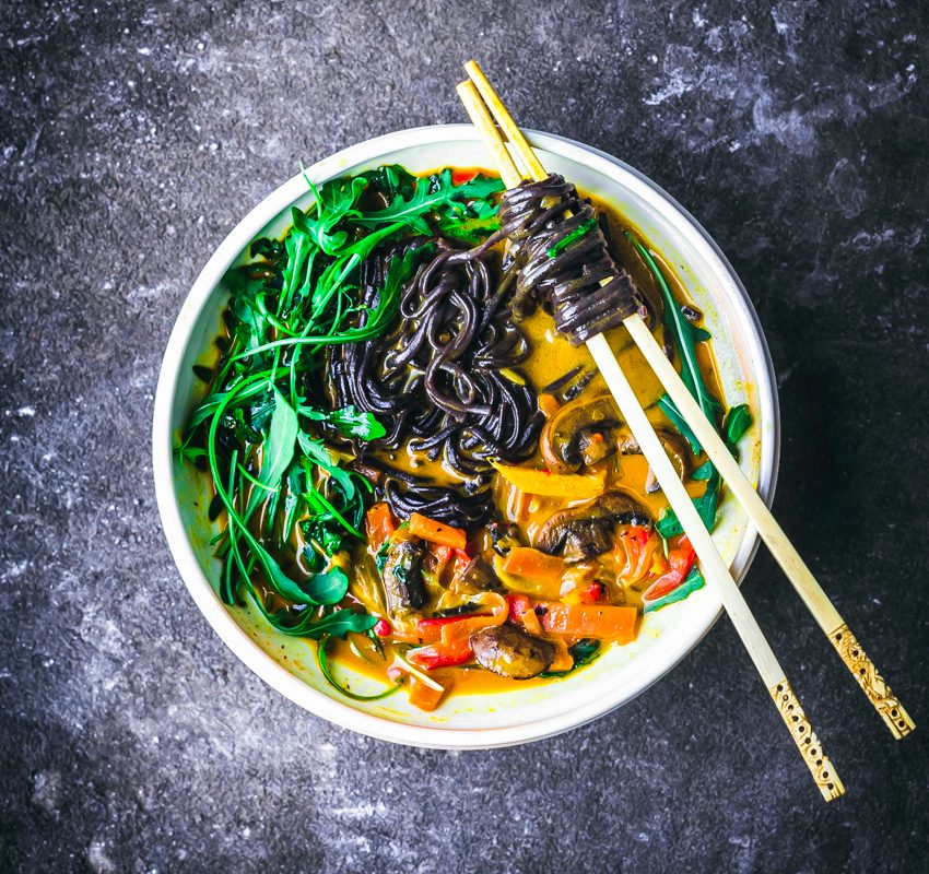 Golden Coconut Curry Noodle Bowls