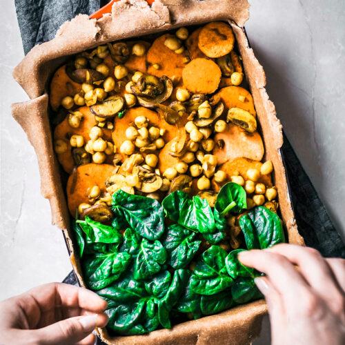 Sweet Potato, Spinach, and Chickpea Slab Pie   occasionallyeggs.com