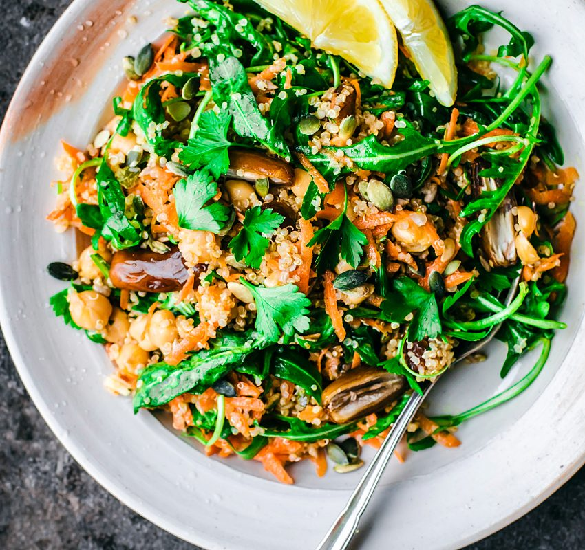 Moroccan Quinoa, Carrot, and Chickpea Salad