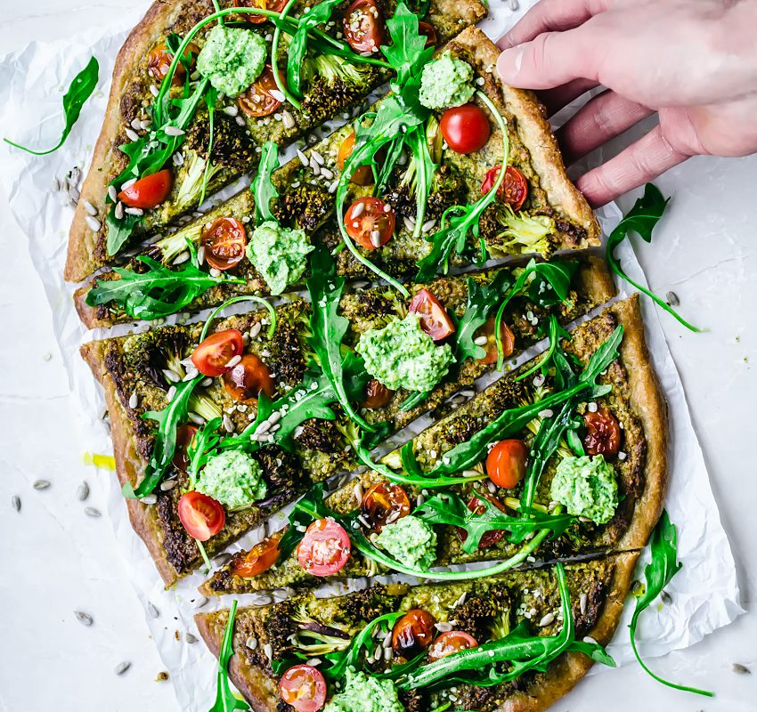 Vegan Pesto Broccoli Pizza