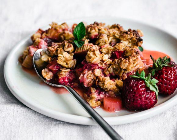 Strawberry Rhubarb Chickpea Flour Crisp