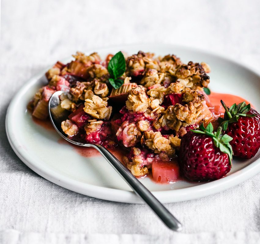 Strawberry Rhubarb Chickpea Flour Crisp