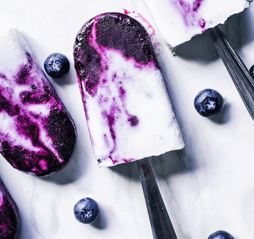 Creamy Blueberry Swirl Coconut Milk Popsicles