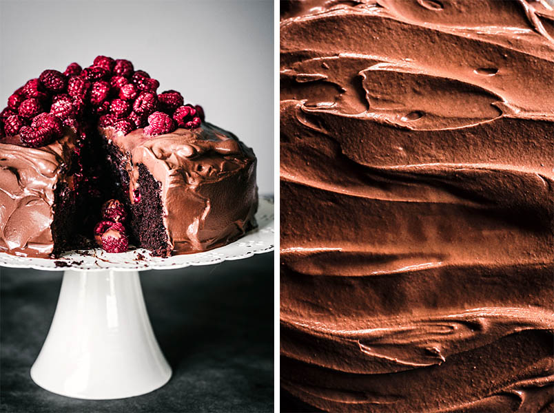 Left: Chocolate cake on a white stand with slice cut to show interior texture. Right: Close up of chocolate ganache.