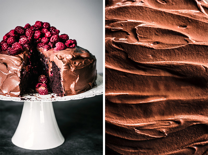 Two photos: on left, chocolate raspberry cake with slice cut out, looking into cake. On right, close up of chocolate ganache.