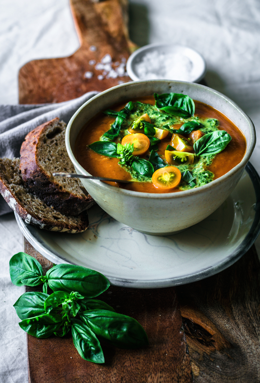 Roasted Tomato, Zucchini, and Eggplant Soup | occasionallyeggs.com