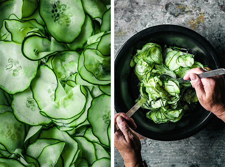 Left: Close up of paper-thin cucumber slices. Right: Woman's hands tossing a cucumber salad.