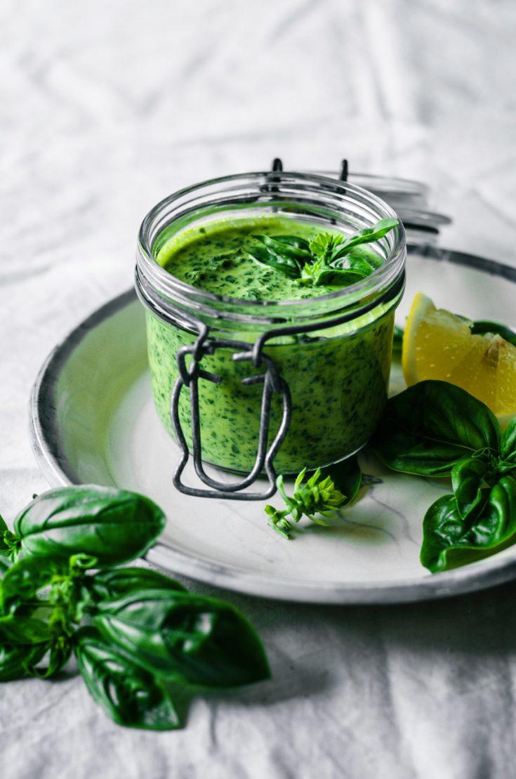 Vegan Tahini Basil Pesto | occasionallyeggs.com
