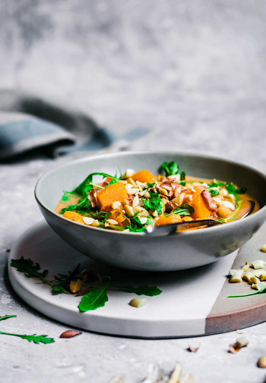 West African Peanut Soup with Pumpkin and Chickpeas   occasionallyeggs.com #soup #veganrecipes