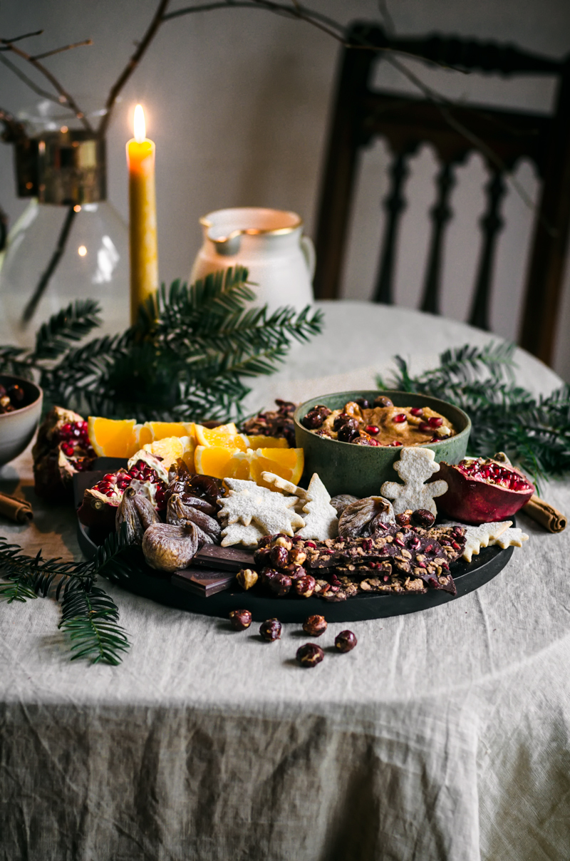 Holiday Dessert Board with Chickpea Cookie Dough Dip | occasionallyeggs.com